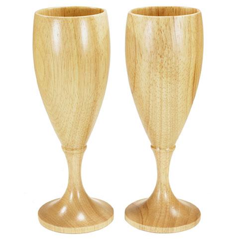 EAGLE Products Houten glazen voor wijn champagne (2 stuks)